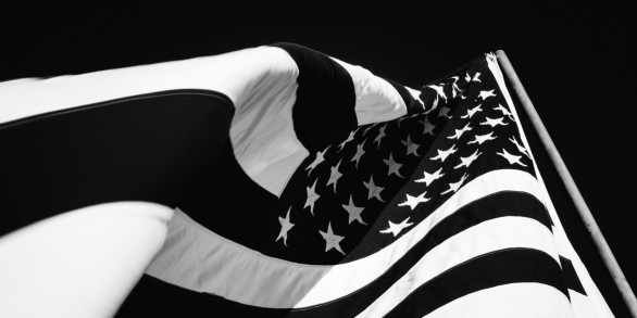 American Flag waving - Black & white cropped